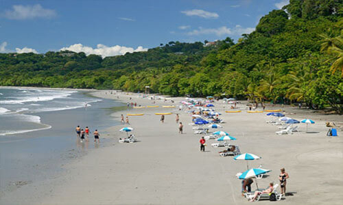 Picture of beautiful beach in Costa Rica.  The picture shows  a dense tree line and several people on the beach and in the surf.